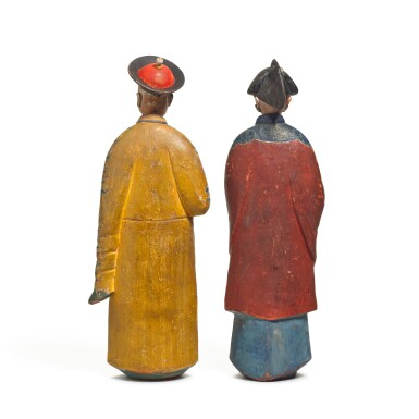 View 3. Thumbnail of Lot 102. A pair of Chinese Export polychrome decorated clay nodding figures, early 19th century.