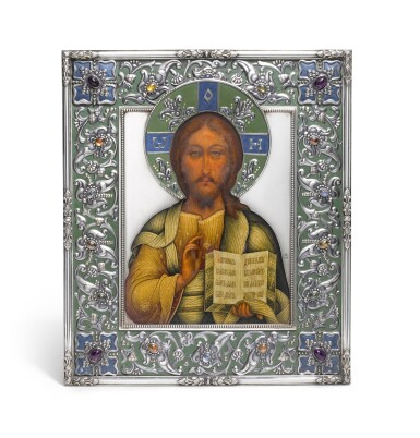 View 1. Thumbnail of Lot 214. A RARE AND IMPORTANT FABERGÉ GEM-SET SILVER AND EN PLEIN ENAMEL ICON OF CHRIST PANTOKRATOR, MOSCOW, 1908-1917.