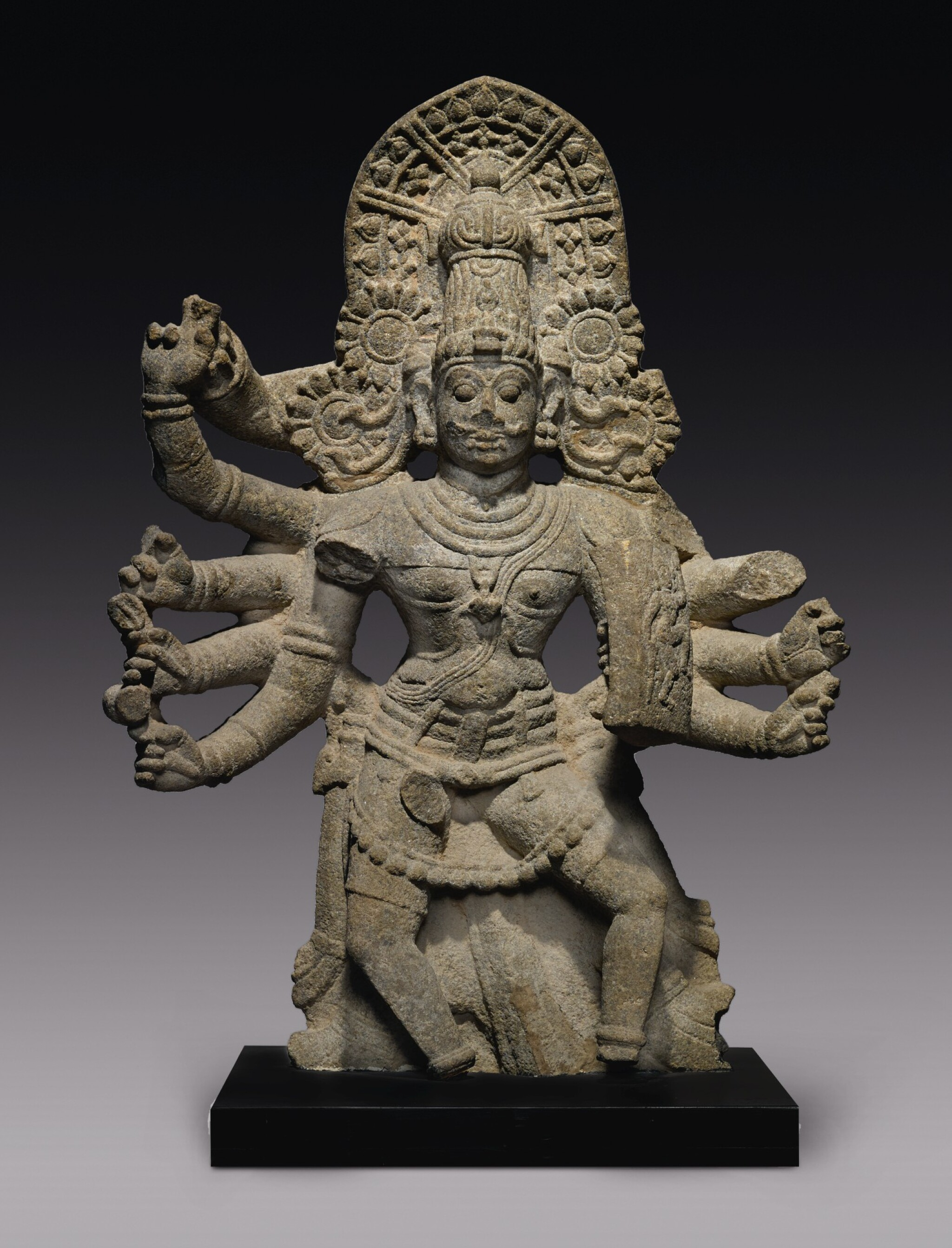 View full screen - View 1 of Lot 356.  A GRANITE FIGURE OF A DEITY POSSIBLY VIRABHADRA SOUTH INDIA, 16TH/17TH CENTURY .