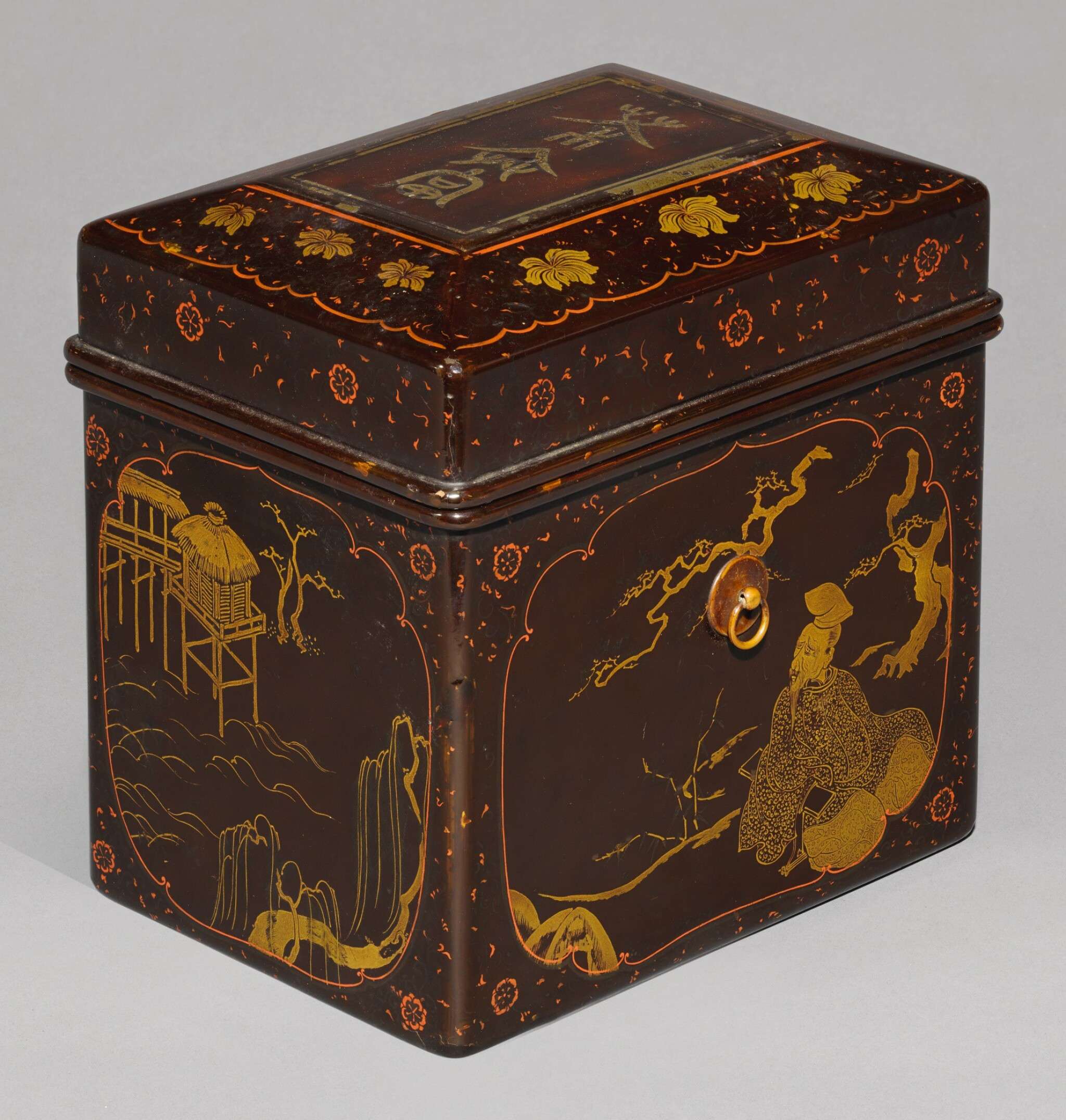 View full screen - View 1 of Lot 64. A LACQUER CHABAKO [TEA BOX], MOMOYAMA-EDO PERIOD, LATE 16TH-EARLY 17TH CENTURY.