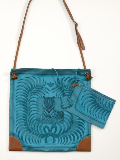 Printed silk and brown leather with palladium hardware shoulder bag, Silkcity Sac Tigre Royal limited edition, Hermès, 2014