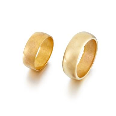 View 1. Thumbnail of Lot 2. Sylvia Plath and Ted Hughes | Pair of gold wedding rings.