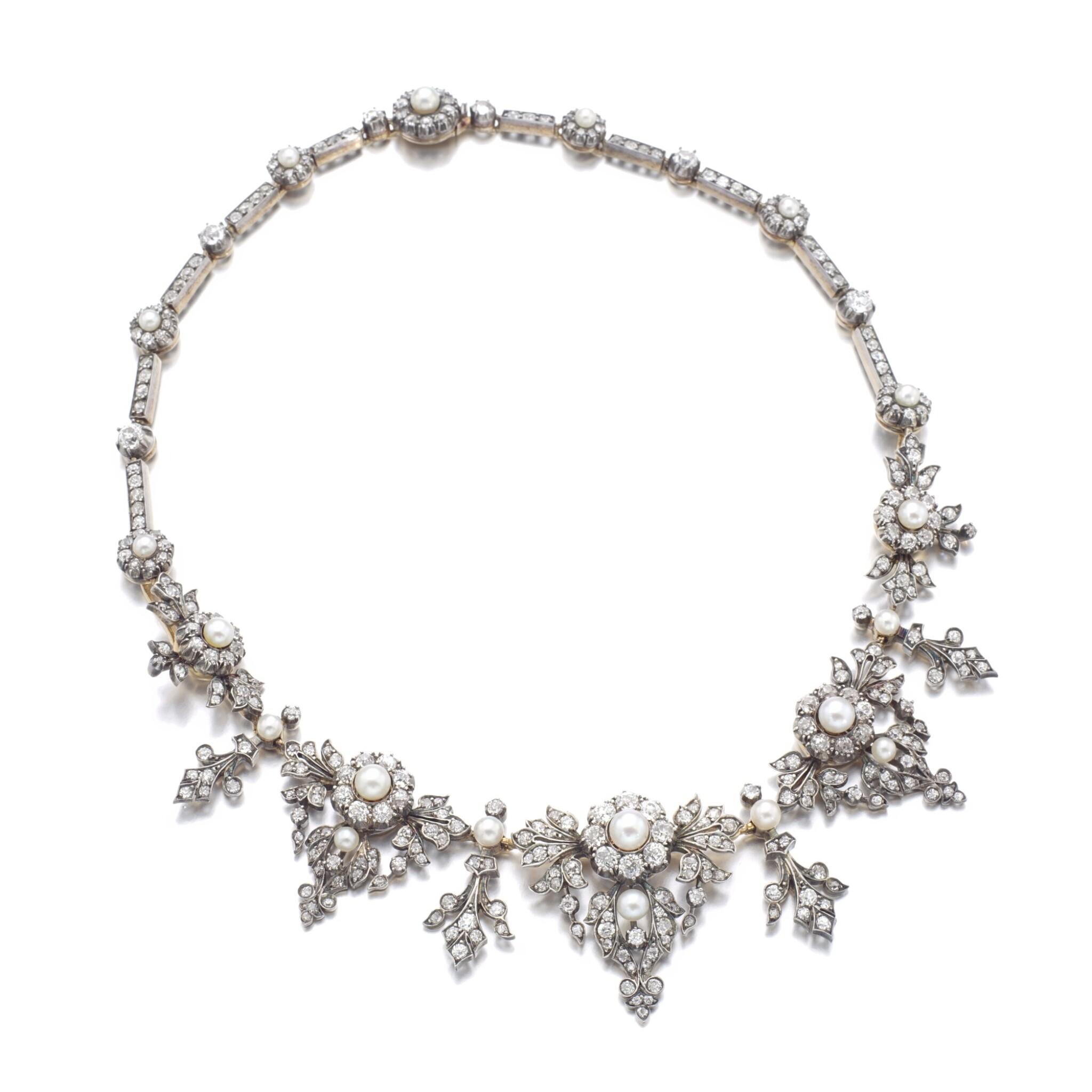 View full screen - View 1 of Lot 1238. Diamond necklace/tiara, circa 1880.