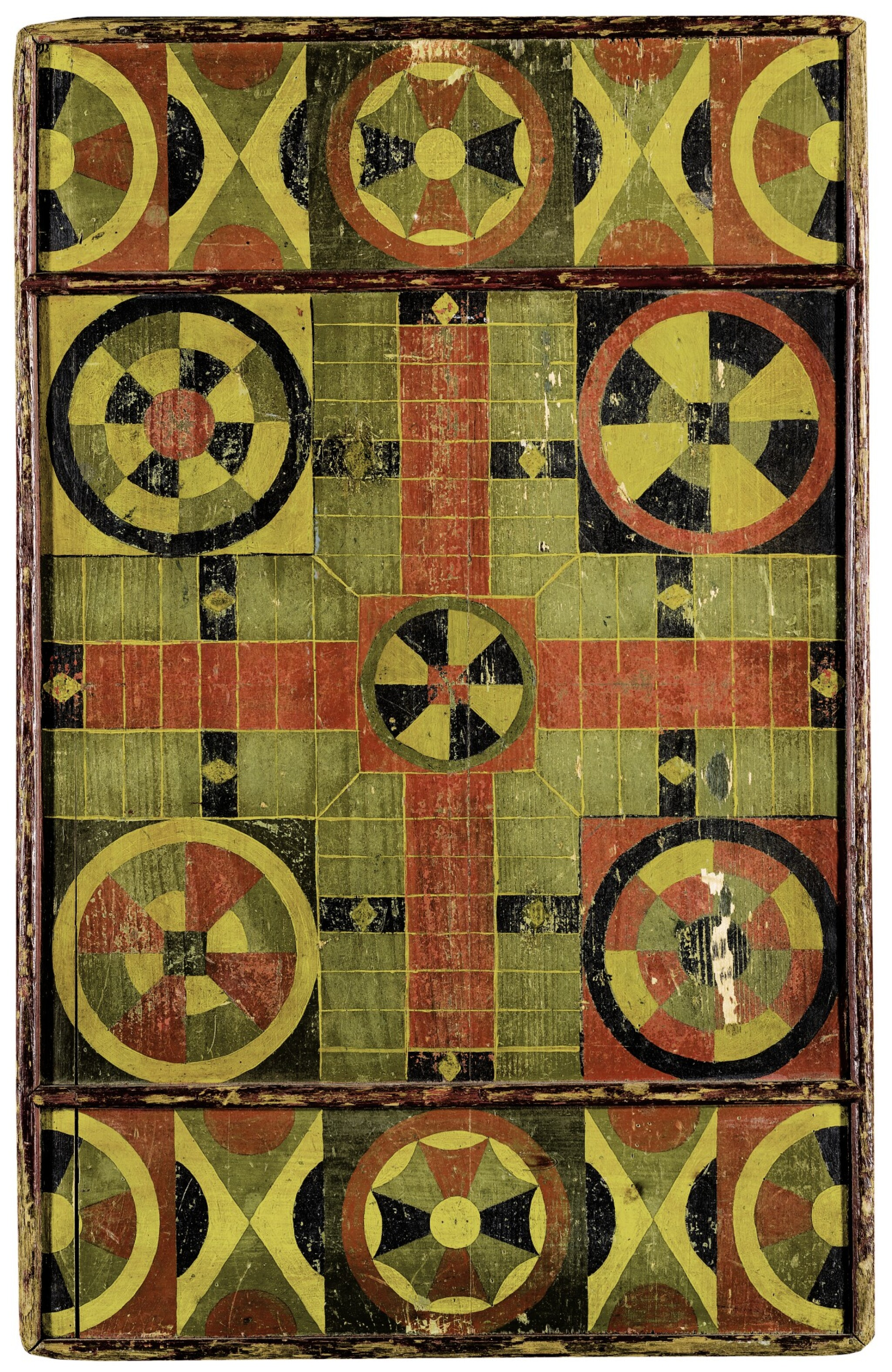 View full screen - View 1 of Lot 1458. AMERICAN POLYCHROME PAINT-DECORATED WOODEN PARCHEESI GAMEBOARD, MID-19TH CENTURY.