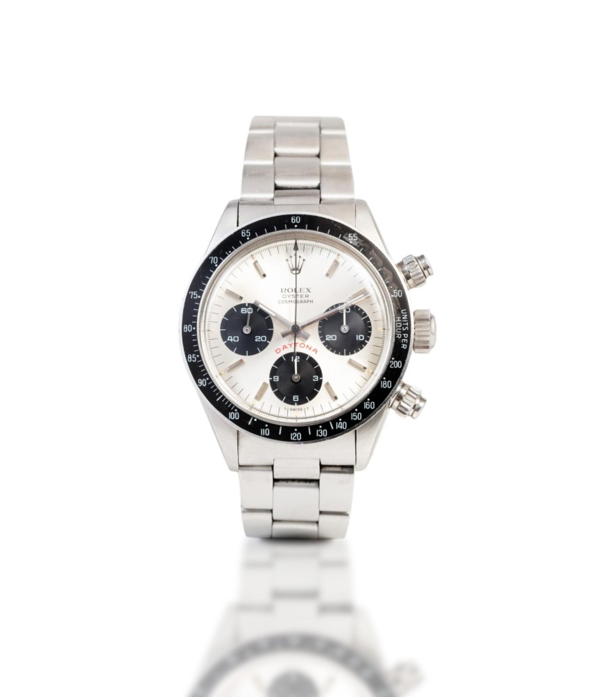 View full screen - View 1 of Lot 21. Daytona, Ref. 6263    Chronograph bracelet en acier avec bracelet |  Stainless steel chronograph wristwatch with bracelet    Vers 1978 |  Circa 1978.