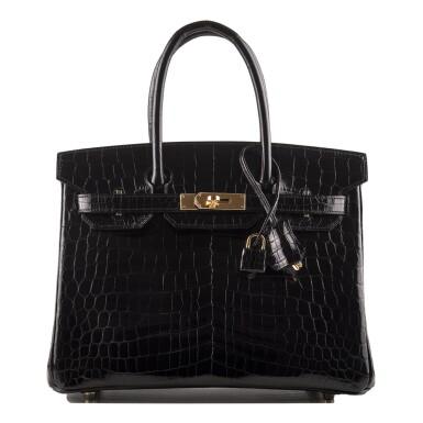 Hermès Shiny Black Niloticus Crocodile Birkin 30cm Gold Hardware