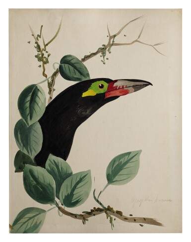 View 2. Thumbnail of Lot 20. TWO WORKS: TROPICAL BIRDS IN TREES.