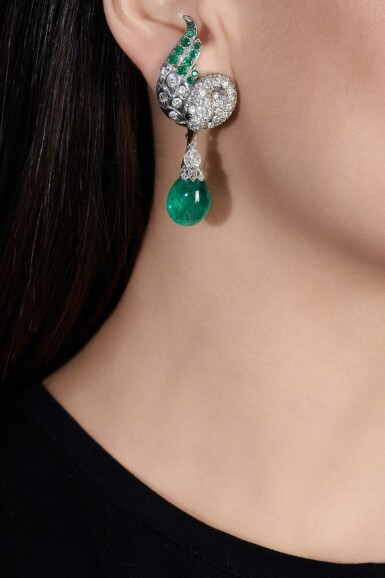 View 4. Thumbnail of Lot 627. René Boivin | Pair of emerald and diamond ear clips, circa 1955 | René Boivin | 祖母綠配鑽石耳環一對,約1955年.
