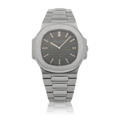 View 1. Thumbnail of Lot 311. 'JUMBO' NAUTILUS, REF 3700/1A STAINLESS STEEL WRISTWATCH WITH DATE AND BRACELET MADE IN 1977.
