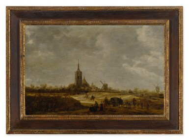 View 2. Thumbnail of Lot 553. Dune landscape with travelers on a path and a view of The Hague in the distance.