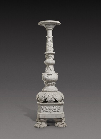 View 3. Thumbnail of Lot 172. An Italian carved white marble candelabrum, Rome, early 19th century.