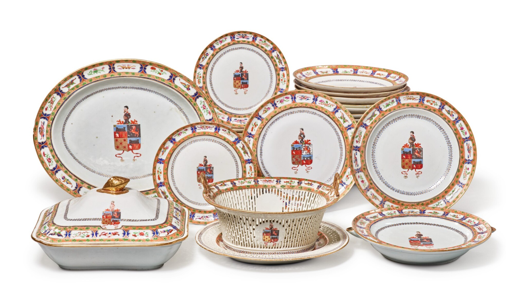 View full screen - View 1 of Lot 466. A Rare Chinese Export Armorial Part Dinner Service for the Portuguese Market, Qing Dynasty, Jiaqing/ Daoguang Period, circa 1820 | 清嘉慶 / 道光  約1820年  粉彩紋章圖餐具組.