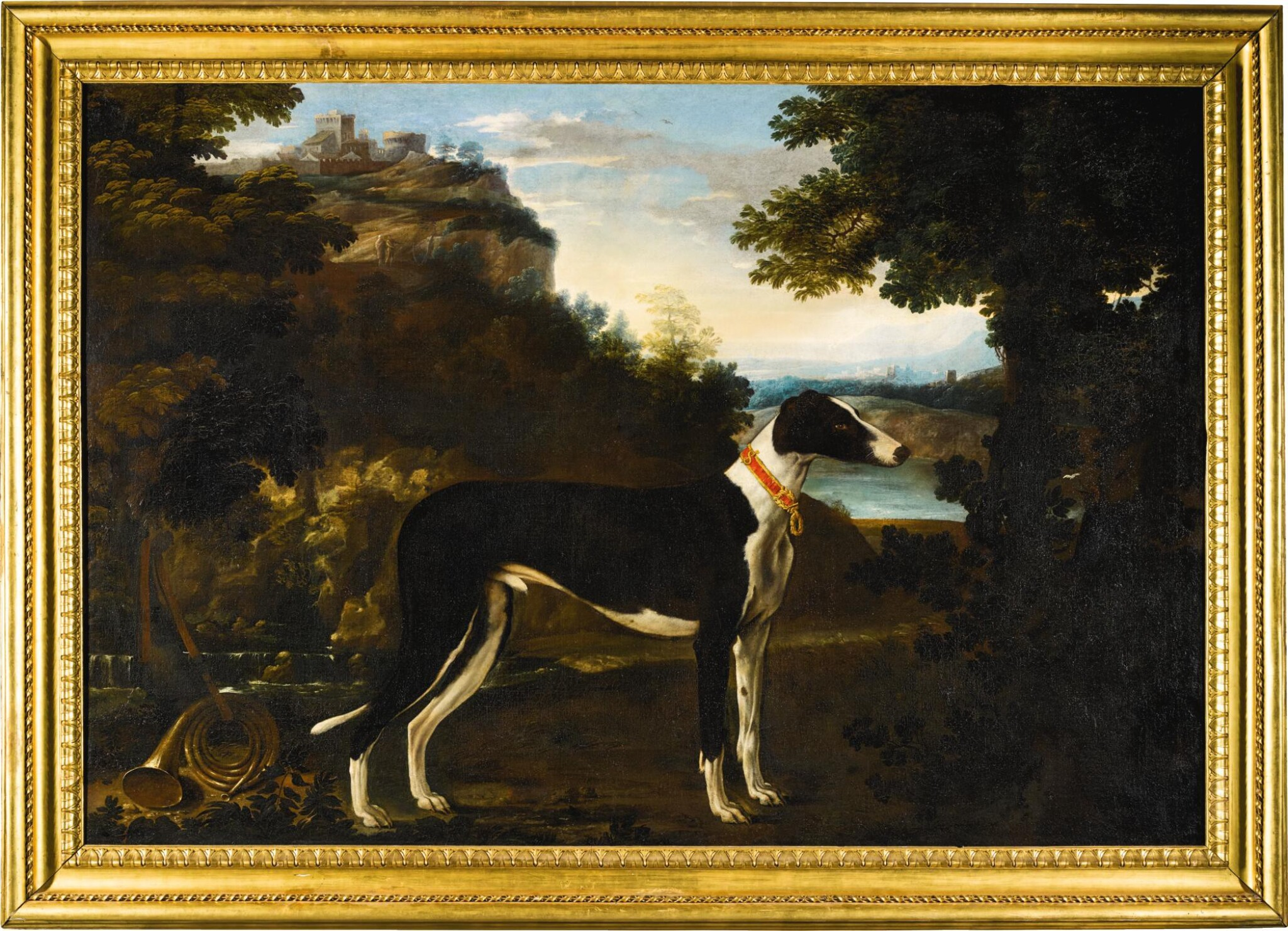 View full screen - View 1 of Lot 17. MICHELE PACE, CALLED MICHELANGELO DEL CAMPIDOGLIO   Portrait of a black and white greyhound belonging to the Chigi family, standing in a mountainous landscape   米謝爾・佩斯 - 或稱米開朗基羅・德・坎皮多里奧  《基吉家族之黑白色獵犬站於山景中的肖像》.