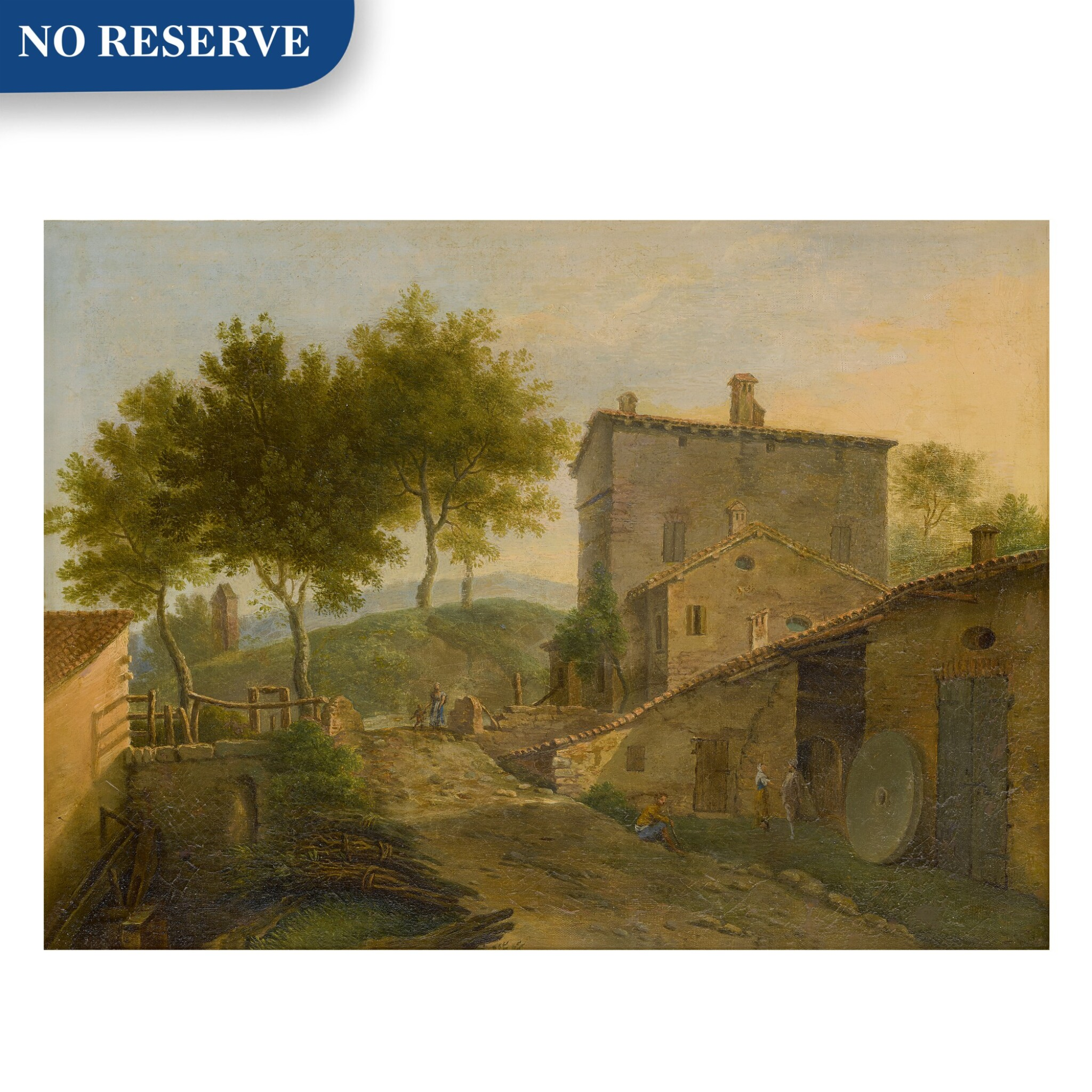 View full screen - View 1 of Lot 104. Village landscape with a mill and various figures.