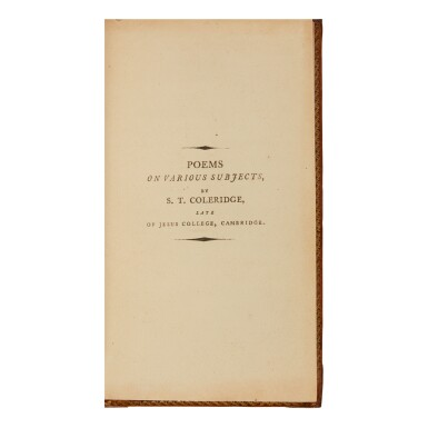 COLERIDGE, SAMUEL TAYLOR | Poems on Various Subjects. London: C.G. and J. Robinson, and J. Cottle, 1796