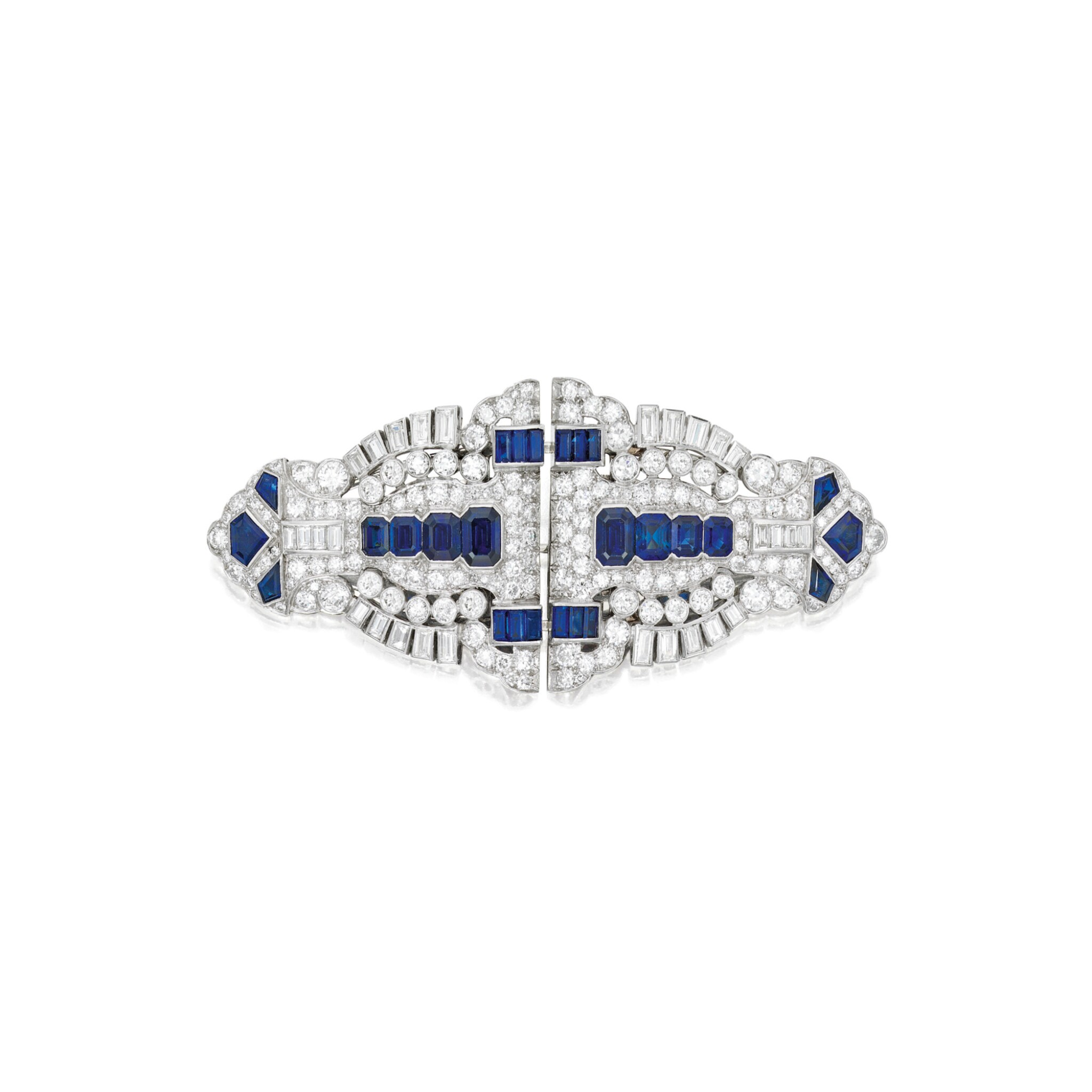 View 1 of Lot 603. SAPPHIRE AND DIAMOND DOUBLE CLIP-BROOCH | 藍寶石配鑽石別針.