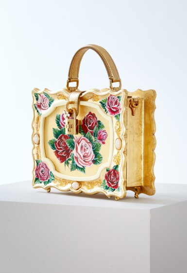 View 3. Thumbnail of Lot 43. Enamel Flower Embellished Limited Edition Box Bag in Golden Hand-Painted Wood with Vintage Plated Brass Hardware, Spring/Summer 2021.