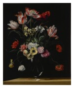 JEAN-MICHEL PICART     TULIPS, DAFFODILS, CARNATIONS, POPPIES, ANEMONES, AND OTHER FLOWERS IN A GLASS VASE ON A WOODEN LEDGE;  TULIPS, LILIES, DAFFODILS, LILACS, AND OTHER FLOWERS IN A GLASS VASE ON A WOODEN LEDGE: A PAIR