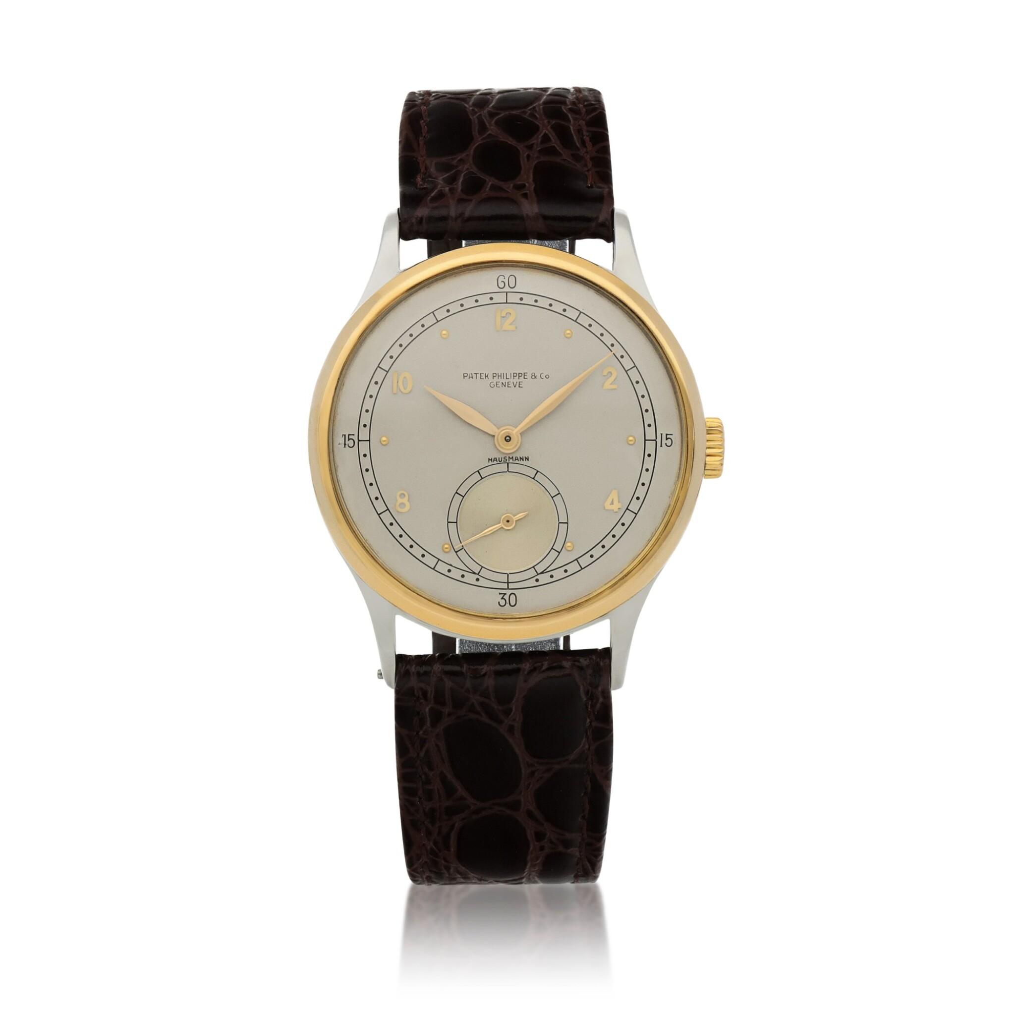 View full screen - View 1 of Lot 52. Retailed by Hausmann: Ref. 530 Stainless steel and yellow gold wristwatch Circa 1942 | 百達翡麗|零售商為Hausmann:530型號精鋼及黃金腕錶,年份約1942.