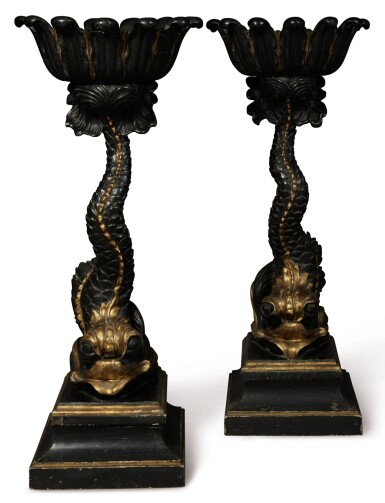 A PAIR OF GILT AND EBONISED WOOD DOLPHIN-FORM JARDINIERES, 20TH CENTURY