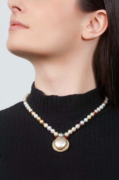 CULTURED PEARL, RUBY AND DIAMOND NECKLACE | BULGARI