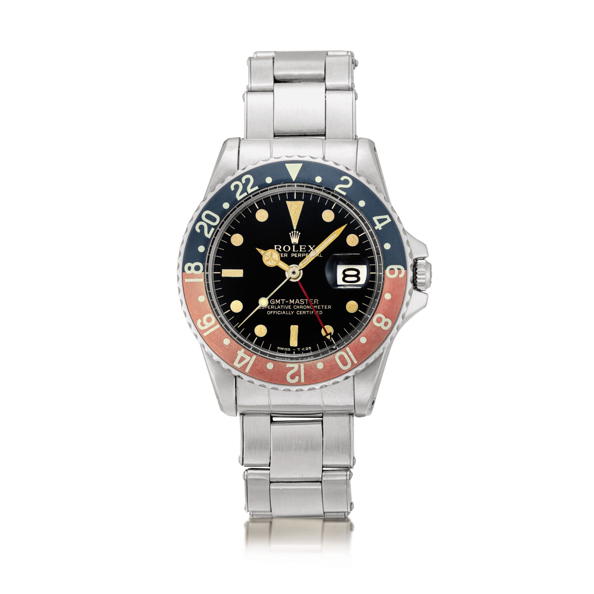 View full screen - View 1 of Lot 2130. Rolex | GMT-Master, Reference 1675, A stainless steel dual time zone wristwatch with gilt dial, pointed crown guards, date and bracelet, Circa 1965 | 勞力士 | GMT-Master 型號1675    精鋼兩地時間鏈帶腕錶,備漆製錶盤、尖形錶冠護橋及日期顯示,約1965年製.