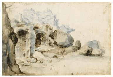 View 2. Thumbnail of Lot 19. Recto: View Along the Tiber Verso: Sketch of a Rocky Grotto with Ruins    .