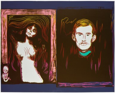 View 1. Thumbnail of Lot 180. ANDY WARHOL | MADONNA AND SELF-PORTRAIT WITH SKELETON'S ARM (AFTER MUNCH) (SEE F. & S. IIIA.62).
