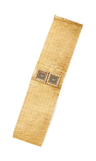 View 1. Thumbnail of Lot 53.  GOLD AND DIAMOND BRACELET-WATCH.