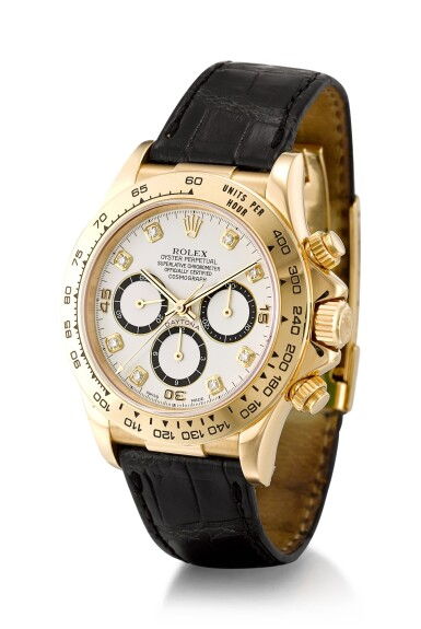 View 2. Thumbnail of Lot 1103. ROLEX | COSMOGRAPH DAYTONA 'INVERTED 6', REFERENCE 16518, A YELLOW GOLD AND DIAMOND-SET CHRONOGRAPH WRISTWATCH, CIRCA 1991.