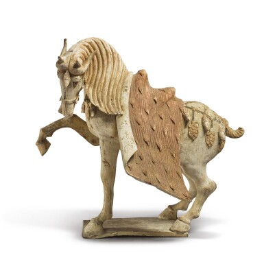 View 5. Thumbnail of Lot 688. A PAIR OF PAINTED POTTERY HORSES, TANG DYNASTY.