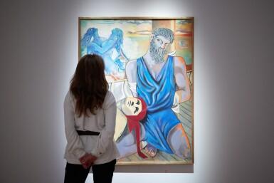 """View 4. Thumbnail of Lot 30. JEAN COCTEAU. Ulysse et les Sirènes. 1951. Huile sur toile, signée """"Jean"""", datée 1951 en bas à gauche. 146 x 114 cm."""