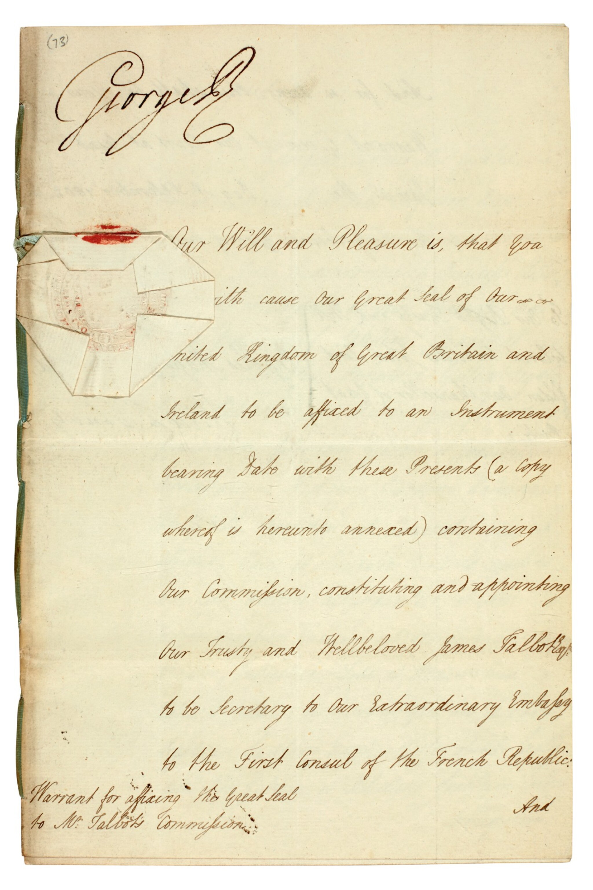 View full screen - View 1 of Lot 48. GEORGE III | document signed, addressed to Lord High Chancellor Lord Eldon, 1802.