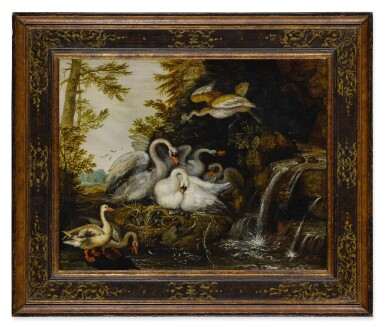 Landscape with swans near a waterfall