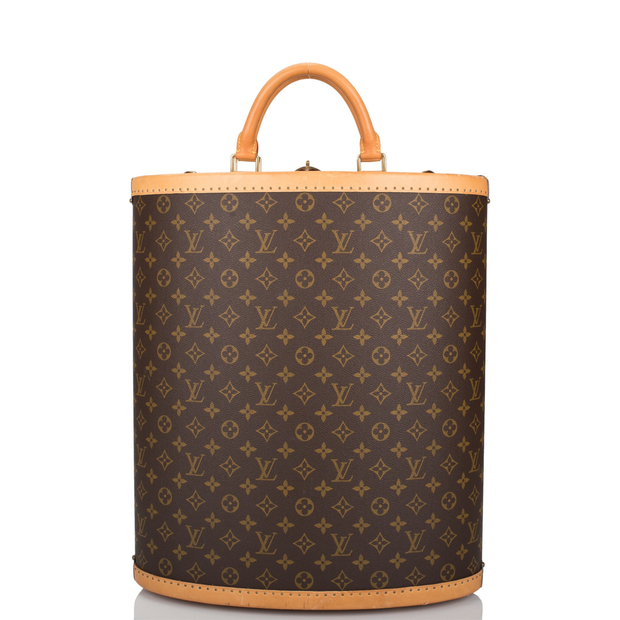View full screen - View 1 of Lot 99. LOUIS VUITTON X MANOLO BLAHNIK    VINTAGE CENTENAIRE SHOE TRUNK OF MONOGRAM CANVAS WITH POLISHED BRASS HARDWARE.