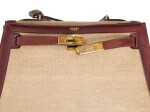 KELLY SELLIER 28 BURGUNDY LEATHER AND BEIGE CANVAS WITH GOLD HARDWARE (VINTAGE). HERMÈS, 1970