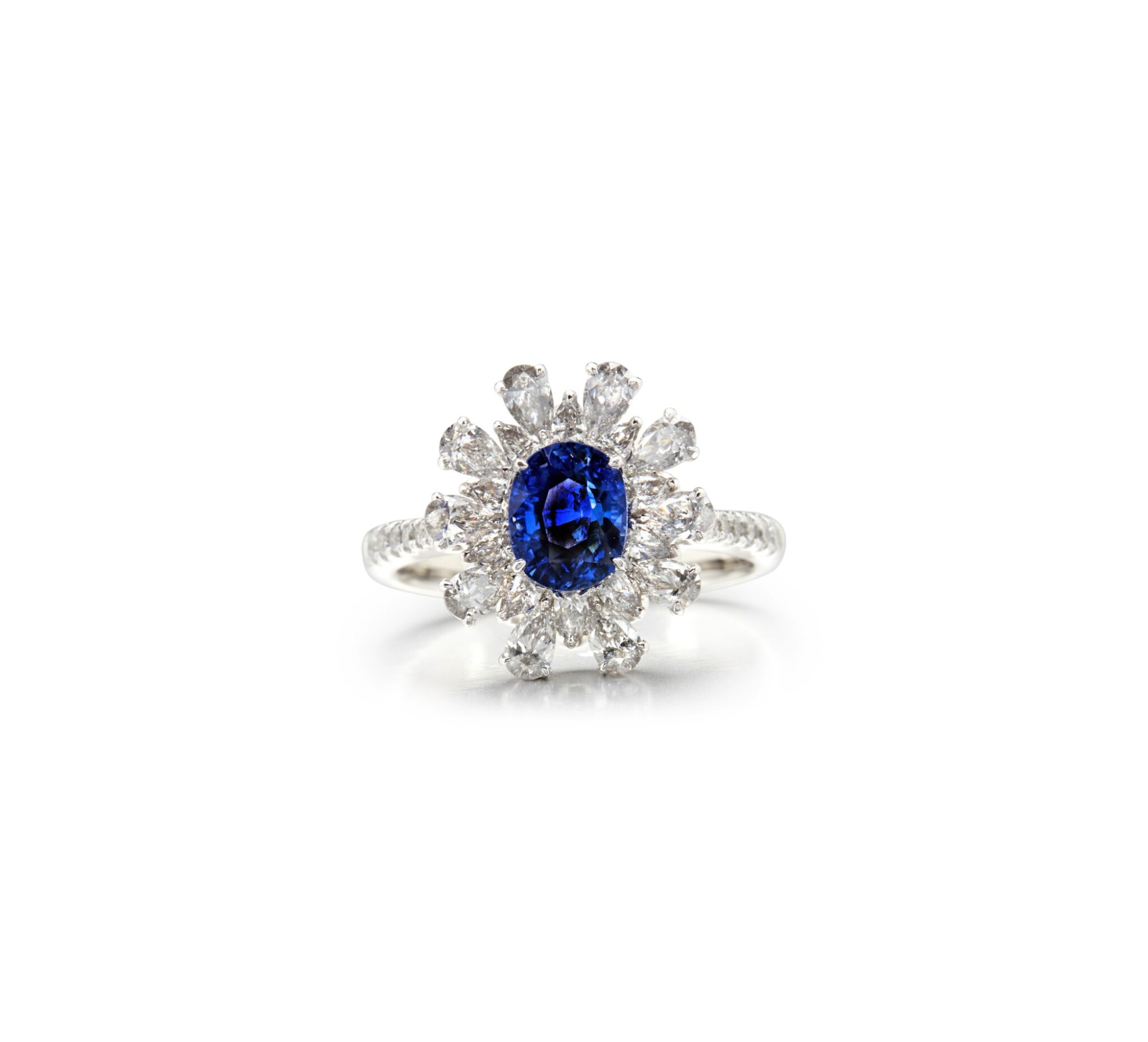View full screen - View 1 of Lot 62. SAPPHIRE AND DIAMOND RING.