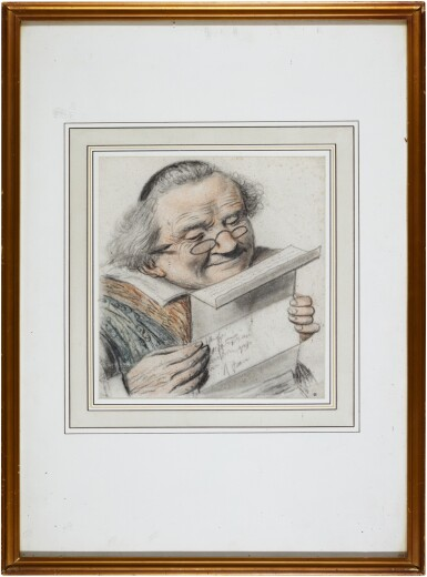 View 2. Thumbnail of Lot 21. A cleric reading a letter, wearing spectacles.