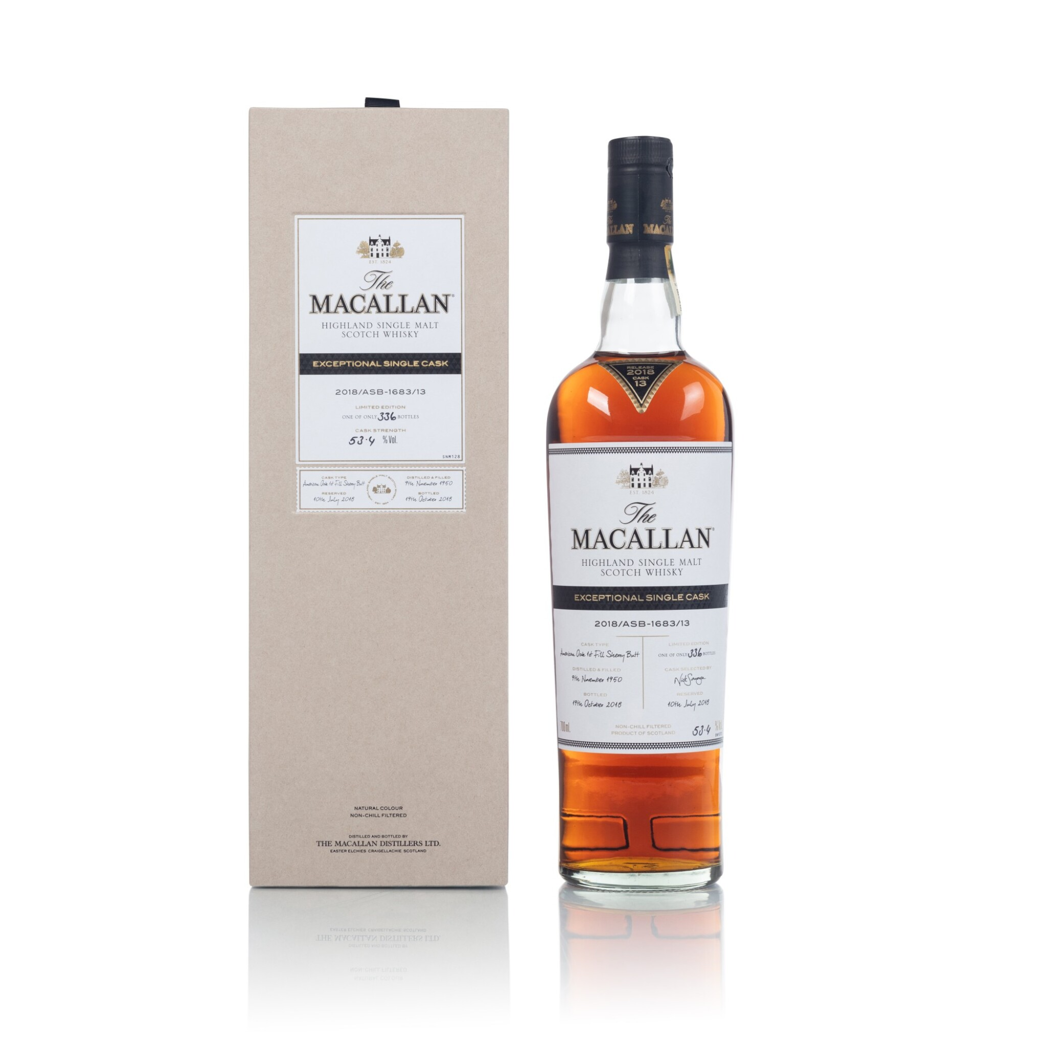 View full screen - View 1 of Lot 50. The Macallan Exceptional Single Cask 2018/ASB-1683/13 53.4 abv 1950 (1 BT70).