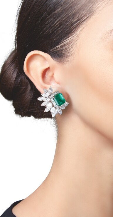 View 2. Thumbnail of Lot 550. PAIR OF EMERALD AND DIAMOND EARCLIPS | 祖母綠配鑽石耳環一對.