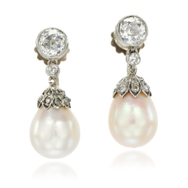 View 1. Thumbnail of Lot 27. Pair of natural pearl and diamond earrings, early 20th century composite.