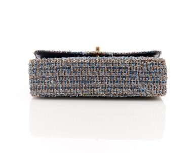 View 3. Thumbnail of Lot 110. Denim and wool tweed with silver-tone metal classic shoulder bag.