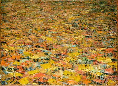 View 1. Thumbnail of Lot 184. Ablade Glover, b. 1934 | View over a Village, Yellow roofs.