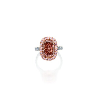 Fancy Deep Orangy Pink Diamond and Colored Diamond Ring