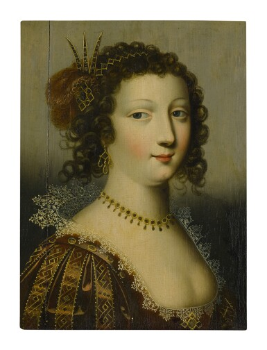 SCHOOL OF FONTAINEBLEAU, EARLY 17TH CENTURY | PORTRAIT OF A LADY, BUST LENGTH