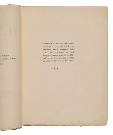 View 2. Thumbnail of Lot 89. Joyce, James   A first edition of Joyce's Ulysses.