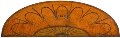 A GEORGE III TULIPWOOD CROSSBANDED AND INLAID SATINWOOD SEMI-ELIPTICAL PIER TABLE, CIRCA 1780