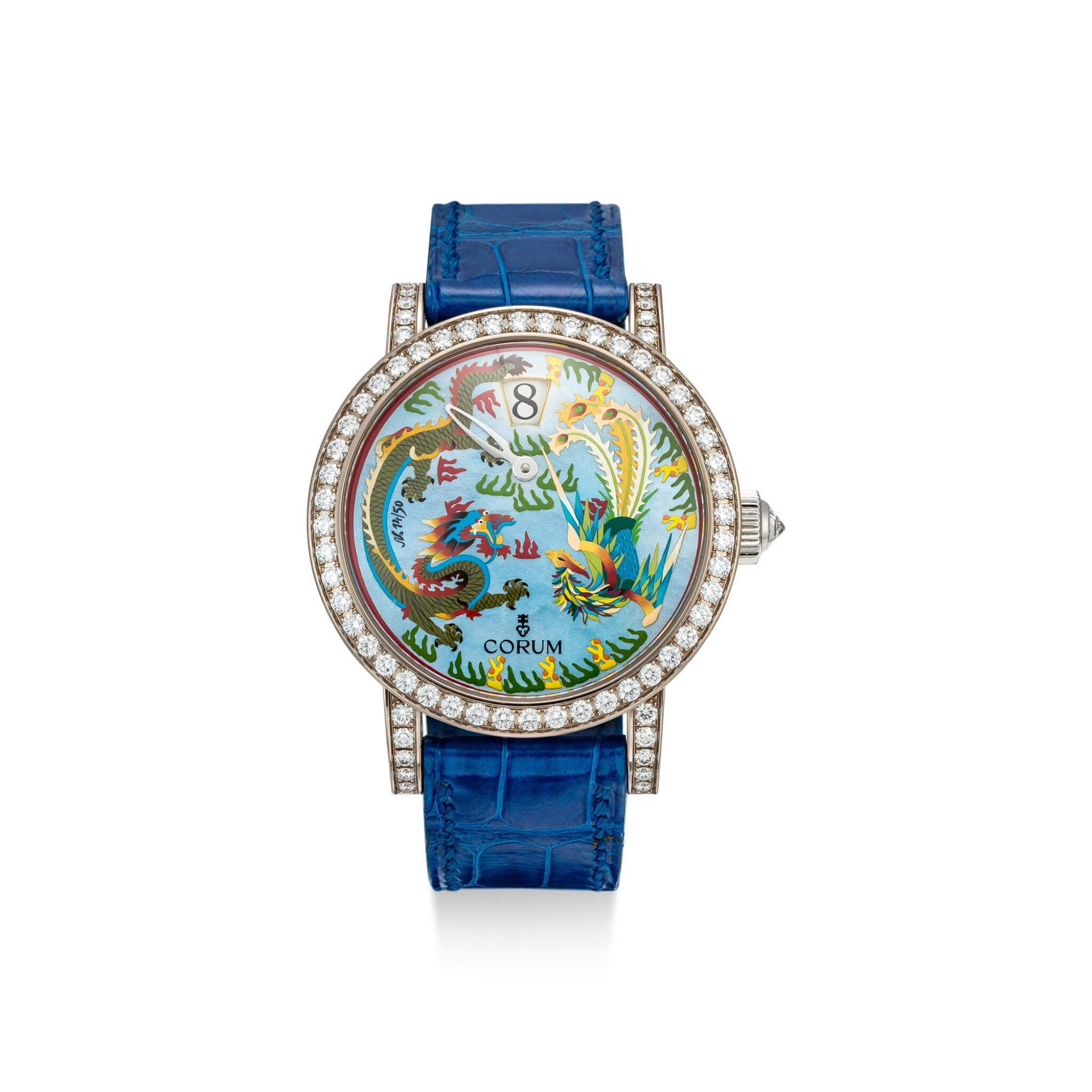 View full screen - View 1 of Lot 859. CORUM | REFERENCE 254.102.69 A LIMITED EDITION WHITE GOLD AND DIAMOND-SET JUMPING HOUR WRISTWATCH WITH MOTHER-OF-PEARL AND ENAMEL DIAL, CIRCA 2005.