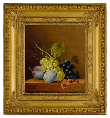 View 2. Thumbnail of Lot 596. Grapes, plums, raspberries, flowers and an acorn on a wooden ledge.