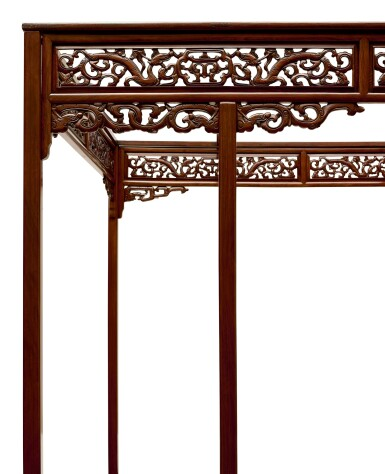 View 4. Thumbnail of Lot 53. AN EXCEPTIONAL AND RARE HUANGHUALI SIX-POST CANOPY BED MING DYNASTY, 17TH CENTURY | 明十七世紀 黃花梨六柱透雕螭龍瑞獸紋圍子架子床.